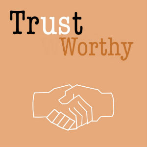 "graphic with hands shaking and word ""trustworthy"""